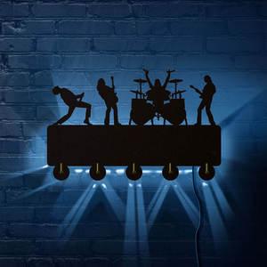 Image 2 - Rock Band LED crochets muraux lumineux décor de ménage bande de musique multicolore porte manteau porte clés cadeau pour chanteur idole