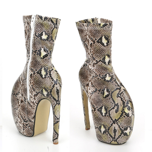 "Image 4 - jialuowei Brand New Strange Style Designer 18CM/7"" Super High Heels Sexy Fetish Serpentine Print Women Unisex Mid Calf Boots"