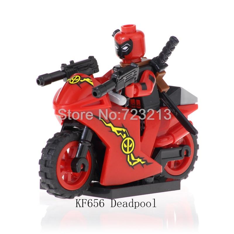 Single Super Hero Deadpool Sale Motorcycle Figure Motor Stripe Suit Marvel Building Blocks Sets Bricks Kids Toys Legoing