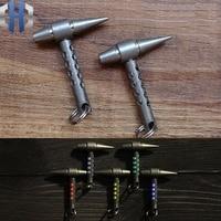 EDC Titanium Alloy Keychain Hammer Pendant With Tritium Tubes Flashlight Signal Light Tools