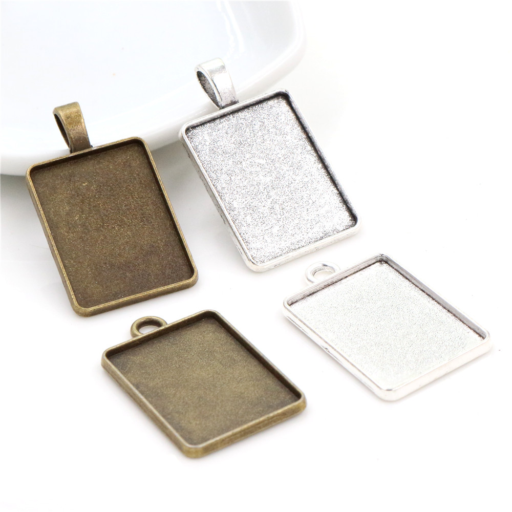 New Fashion 6pcs 18x25mm Inner Size 4 Style Rectangle Cabochon Base Setting Charms Pendant,Fit  18*25mm Rectangle Glass Cabochon
