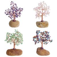 TUMBEELLUWA Natural Crystal Money Tree on Pebble Stone Base Handmade Chips Stone Bonsai Figurine Decoration for Wealth and Luck