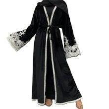 Мусульманская мода абайя велюровый кафтан женский халат с кружевными