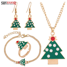 Merry Christmas Tree Jewelry Sets Lovely Enamel Christmas Tree Pendant Necklace Bracelets Rings Dangle Earrings Jewelry Set Gift fashion christmas gold christmas tree jewelry set necklace bracelet earring ring jewelry sets gift for christmas day dropshiping