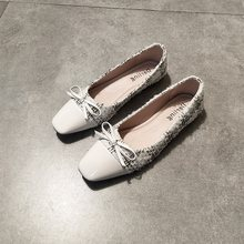 White Black Patchwork Flat Shoes Woman with Bow Ballet Flats Ballerinas Point Toe Slip On Loafers Soft Ladies Moccasins Shoes(China)