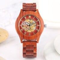 자동 감기 기계식 나무 시계 빛나는 다이얼 남자 나무 손목 시계 로마 숫자 표시 탑 럭셔리 남성 계시기 reloj