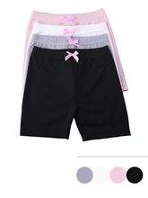 4 pçs da criança cintura elástica suor shorts de algodão crianças do miúdo do bebê meninas cor sólida shorts rosa arco calças de segurança roupa interior