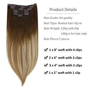 "Image 2 - [27色] ugeatクリップで毛延長14 22 ""人間の髪ダブル描画remy毛の完全なで延長120グラム/7個セット"