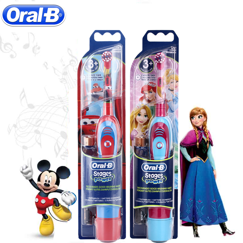 Oral B Children Sonic Electric Toothbrush Oral Care Kids Electronic Teeth Brush Stages Battery Power Rotation Brush Tooth Heads
