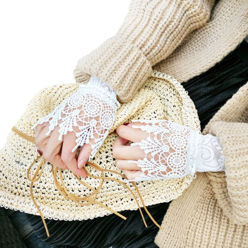 Decorated Cuff Women Sweater Ruffles Fake Sleeves Hollow Crochet Lace Arm Warmer M68A