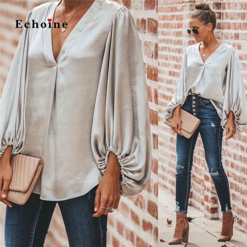 Echoine Women Blouses Office Lady Shirts Sexy V-Neck Low Cut Lantern Sleeve Loose Elegant Smooth Silk And Satins Tops Highstreet title=