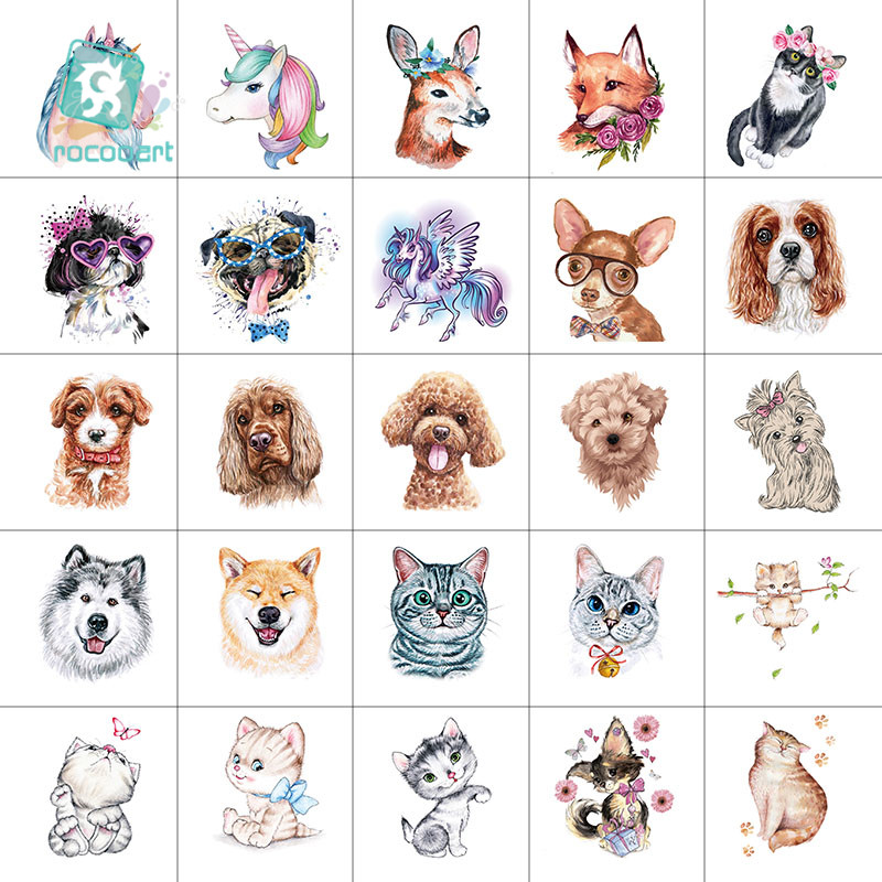 25pcs Mini 6x6cm Animal Tattoo Cute Unicorn Design Cat And Dog For Boys Girls Kids Waterproof Temporary Tattoo Sticker For Child