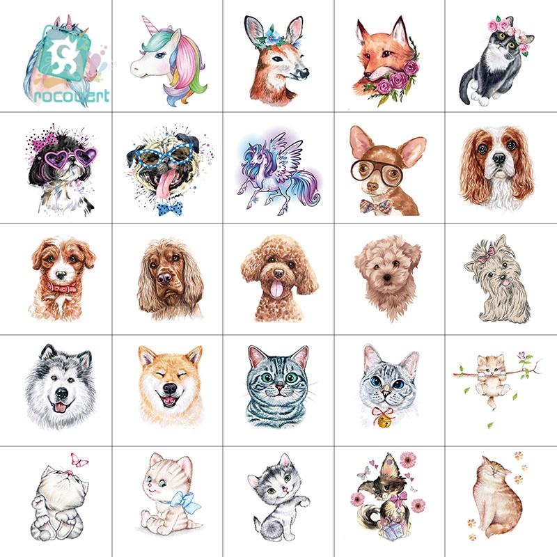 25pcs Mini 6x6cm Animal Tattoo Cute Unicorn Design Cat And Dog For Boys Girls Kids Waterproof Temporary Tattoo Sticker For Child