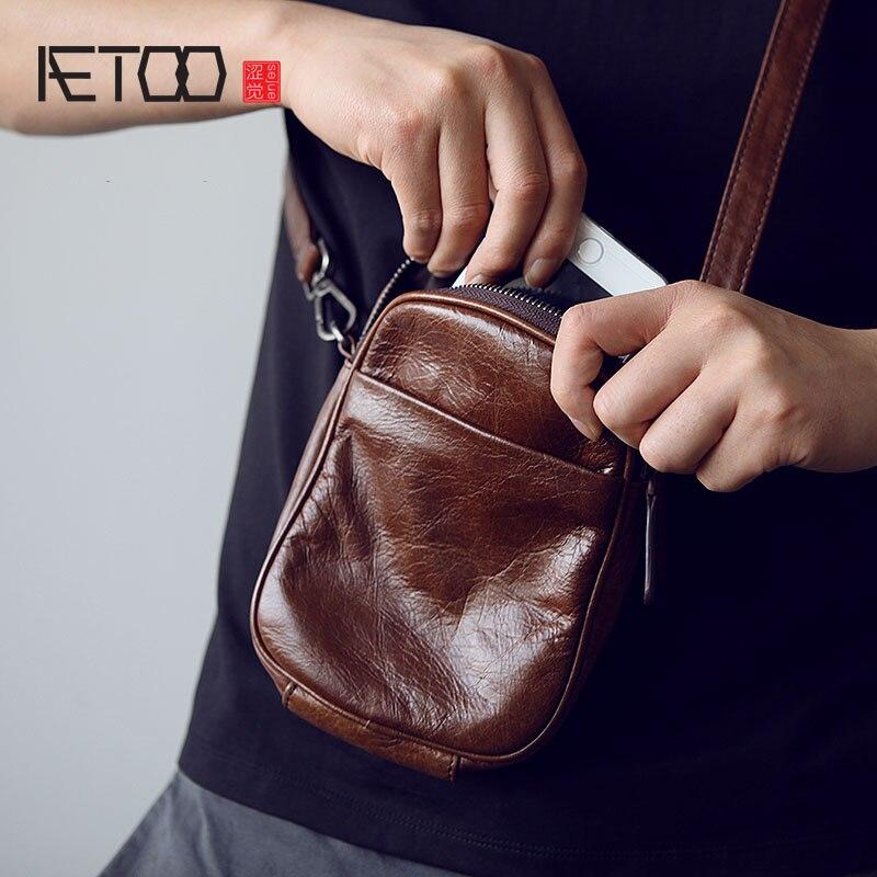 AETOO Mens leather Oblique cross Baotou layer cowhide mini bag  packets shoulder bag mobile phone bag Japanese small bagCrossbody Bags