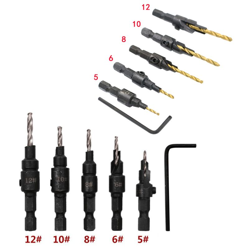 5Pcs HSS Countersink Drill Bits Woodworking Drilling Pilot Holes With Hex Key Wrench Quick Change Set