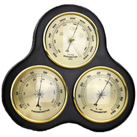 Promotion! 3Pcs/Set Triangle Hygrometer Manometer Thermometer Barometer with Wooden Frame Base Ornaments/Wooden Weather Station|Temperature Instruments| |  -