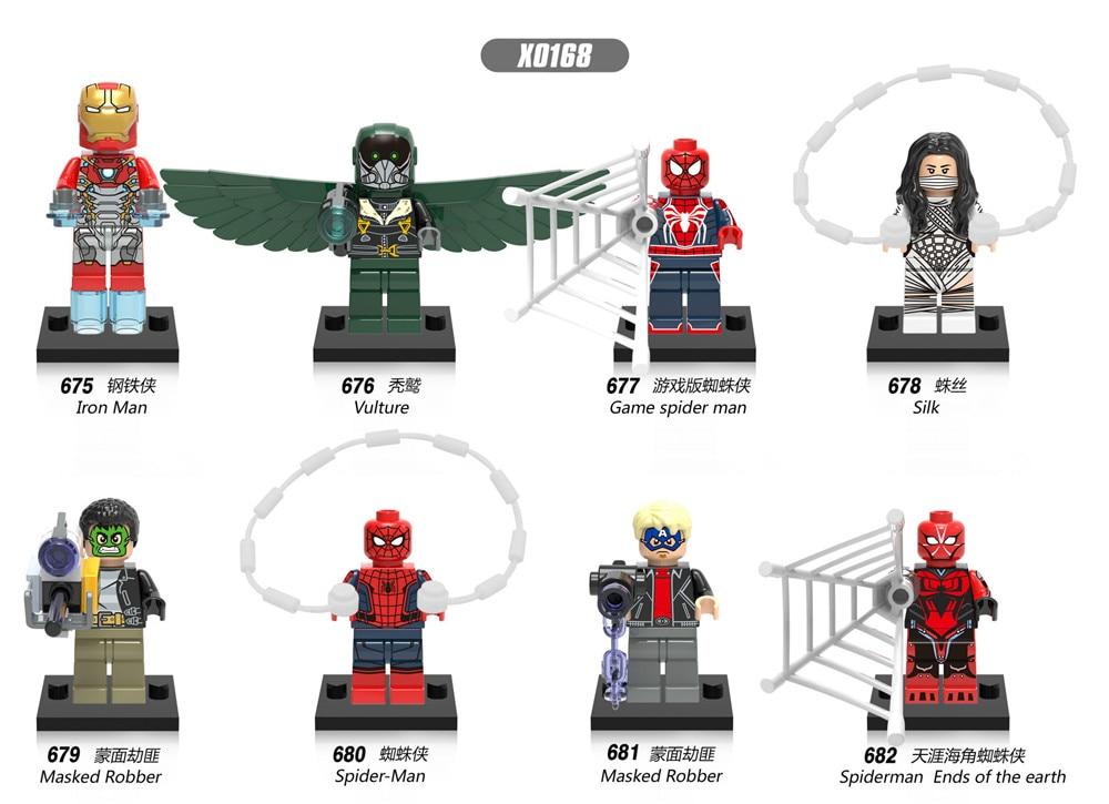 Marvel Superhero The Avengers 8 Pieces / Set Lepins Hulk Spider-Man Iron ManBatman Children's Building Block Toy Gift Decoration