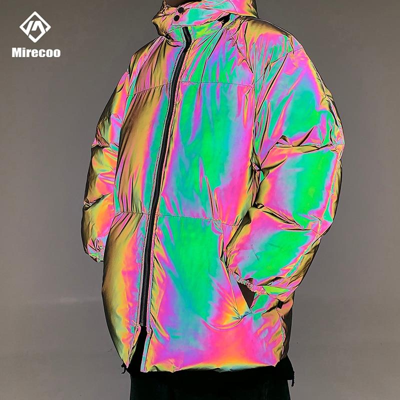 Зимняя куртка мужская Толстая Радужная Светоотражающая Куртка парка пальто Модная молодежная хип хоп Свободная куртка уличная верхняя одежда мужская одежда