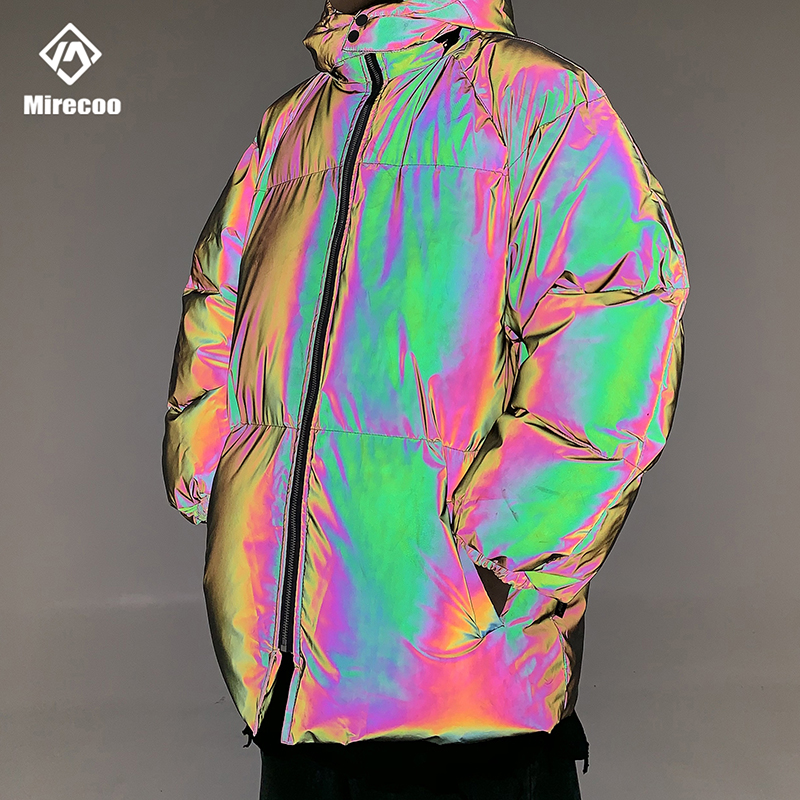 Jaqueta de inverno masculino grosso arco íris reflexivo casacos parka casaco moda jovem hip hop solto jaqueta streetwear outwear roupas masculinas