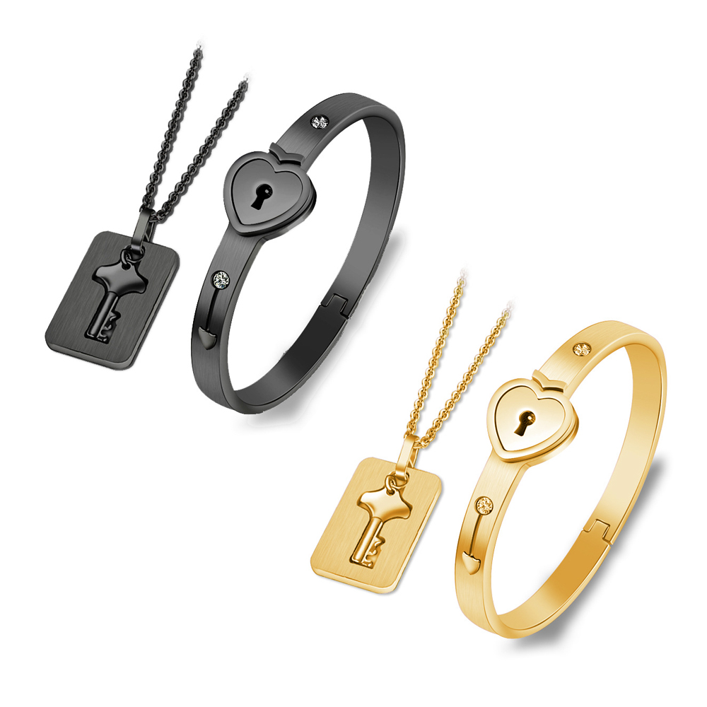 Black/Gold Stainless Steel Jewelry Sets Heart Love Lock Bracelet Key Necklace For Couples Set For Woman Zircon Wedding Gift(China)