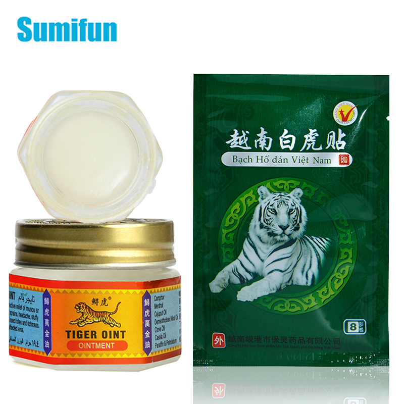 8pcs Vietnam White Tiger Balm Medical Plaster+1pcs Ointment Rheumatoid Arthritis Joint PainKiller Cooling Oil And Sticker D2479
