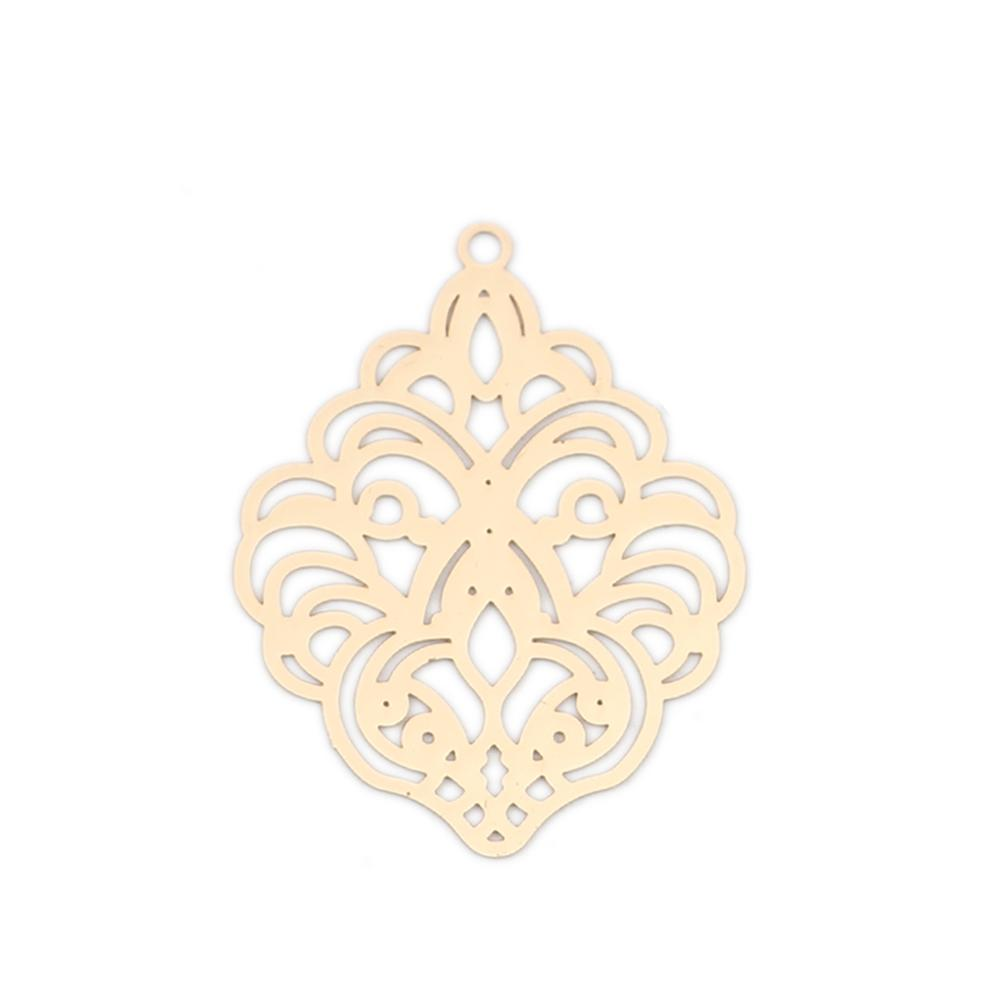 DoreenBeads Bohemian Copper Filigree Stamping Pendants Vintage Hollow Flower Charms DIY Making Jewelry Gifts 31mm X 24mm, 10 PCs