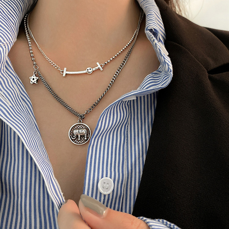 925 Sterling Silver Retro Double Layered Crystal Star Necklaces Female Fresh Round Elephant Pendant Clavicle Chain Necklaces