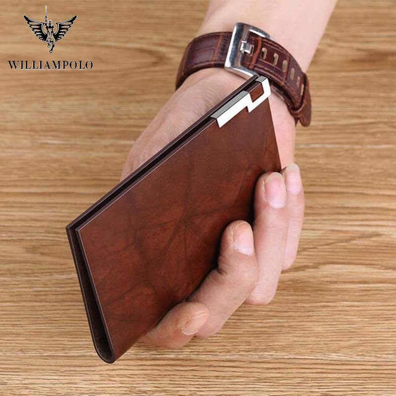 William Polo Genuine 100% Leather Men's Wallet Fashion Luxury Clip Metal Mini Wallet Credit Card Case