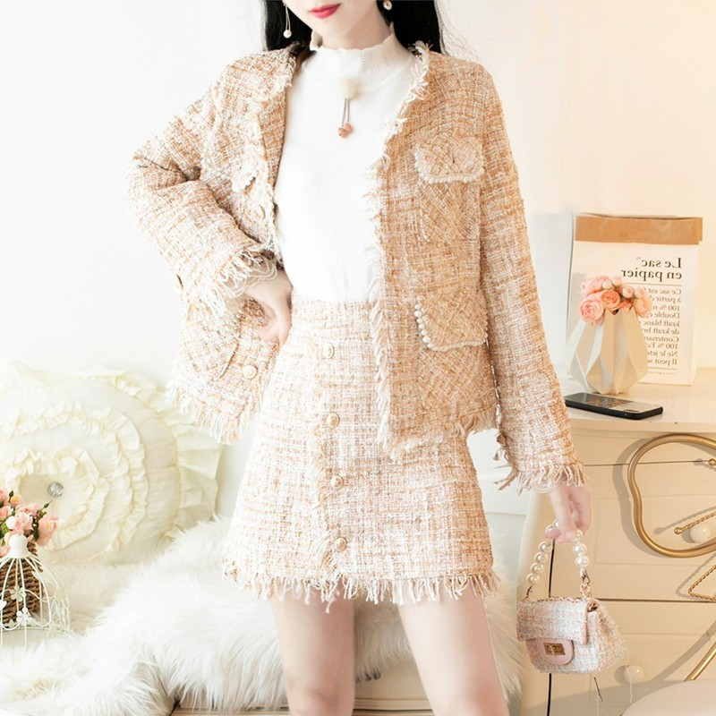 Fashion Office Ladies Slim Fit Tweed Jacket Two Piece Set Sexy Mini Skirt Party Outfits Tassels Brand Twill Suits Matching Sets