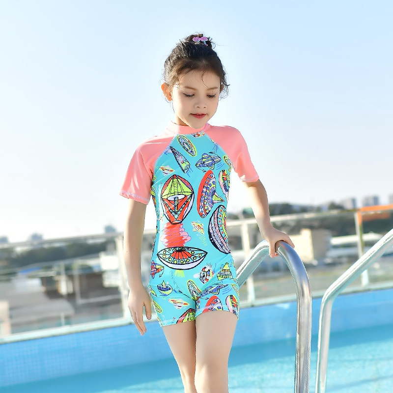 2018 New Style Children Diving Suit Outdoor Long Sleeve One-piece Swimming Suit Sun-resistant Quick-Dry Children Swimwear