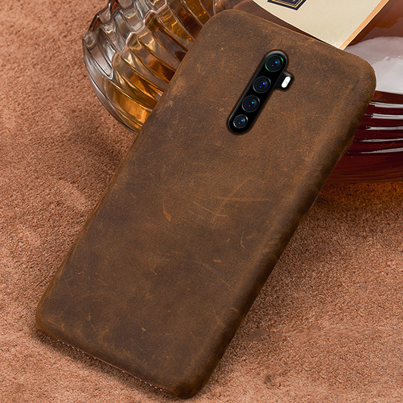 Genuine PULL-UP Leather Retro Phone Case for Realme X2 Pro X XT <font><b>5</b></font> Pro Cover For OPPO A5 A9 2020 Reno 2 <font><b>3</b></font> Z Reno Ace R17 K5 Cover image