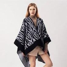 Брендовый дизайнерский кашемировый шарф с геометрическим рисунком, женские пончо, женские зимние плотные теплые шали и накидки из пашмины