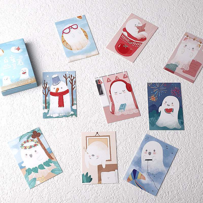 28 Sheets/Set Lovely Changeable Ghost Lomo Card Cartoon Mini Postcard Message Card Christmas Gifts
