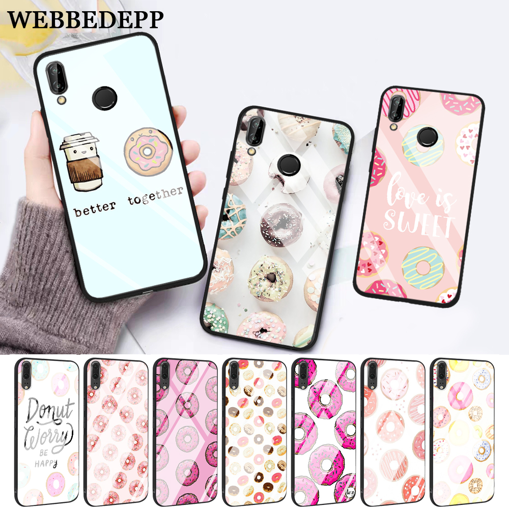 WEBBEDEPP pink sweet donut Hot Glass Case for Huawei P10 lite P20 Pro P30 P Smart honor 7A 8X 9 10 Y6 Mate 20