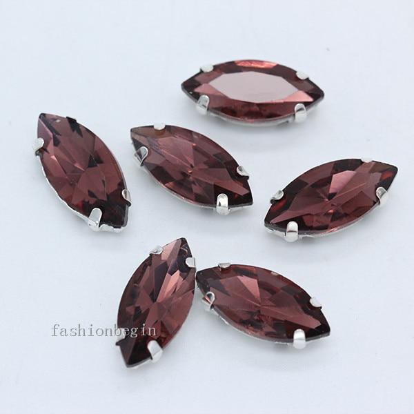 Всех размеров Наветт 24-цветное стекло камень с плоской задней частью, пришить с украшением в виде кристаллов Стразы драгоценные камни бисер с серебряной нитью, бледно-коготь кнопки для одежды аксессуары - Цвет: mid amethyst