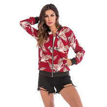 Women Coat Autumn Retro Crane Flower Printing Zipper Up Bomber Jacket 2019 Ladies Casual Long Sleeve Baseball Clothes