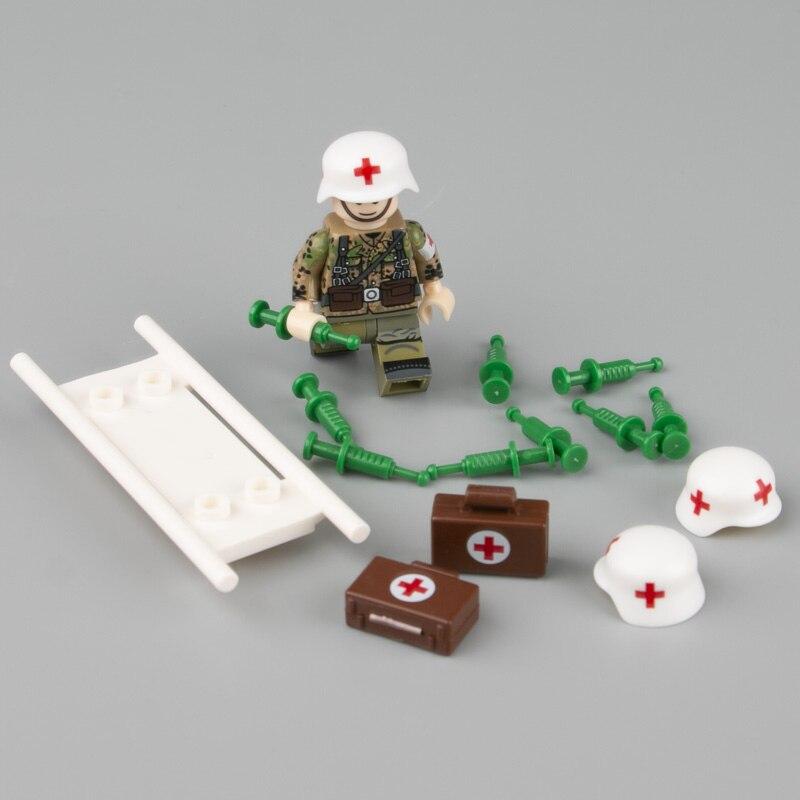 WW2 Military Medical Accessories Stretcher Syringe Building Blocks Germany Helmet Medical Handbag Bricks Parts Children Toy C135