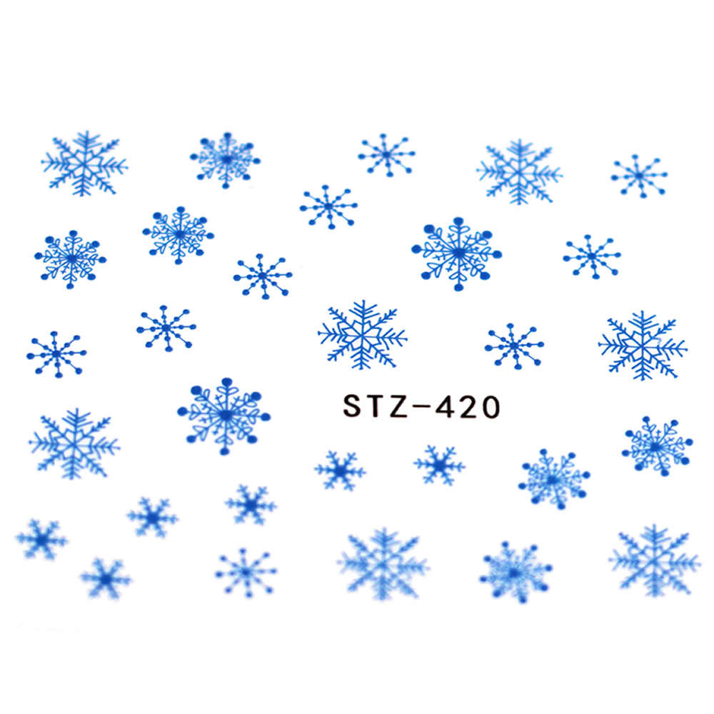 1 Pcs Popular Blue Snowflakes Nail Decal and Sticker Flower Leaf Tree Green Simple Summer Slider for Manicure Nail Art Watermark