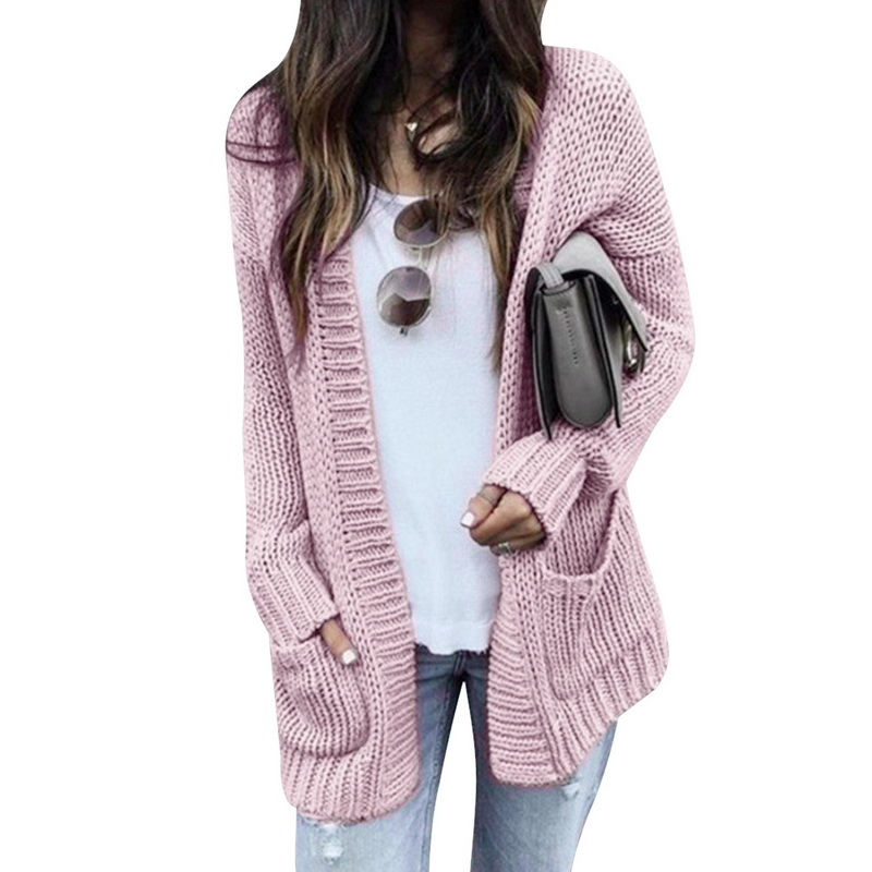 CALOFE 2019 Fashion Women Knitted Coats Long Sleeve Solid Cardigans Sweater With Pockets Warm Casual Coats Knitwear Plus Size