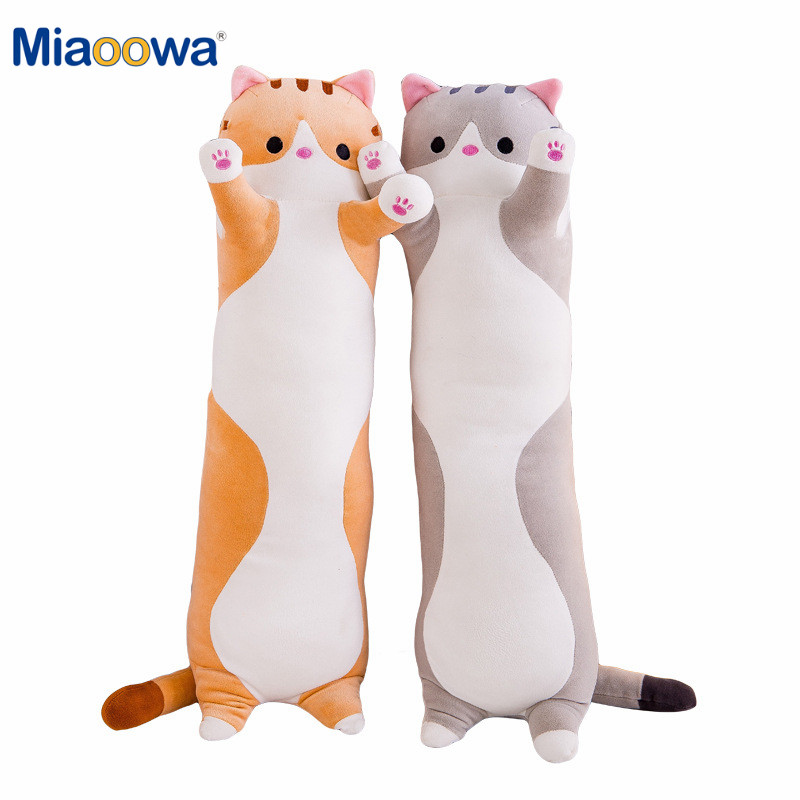 Cute Soft Long Cat Pillow Plush Toys Stuffed Pause Office Nap Pillow Bed Sleep Pillow Home Decor Gift Doll For Kids Girl