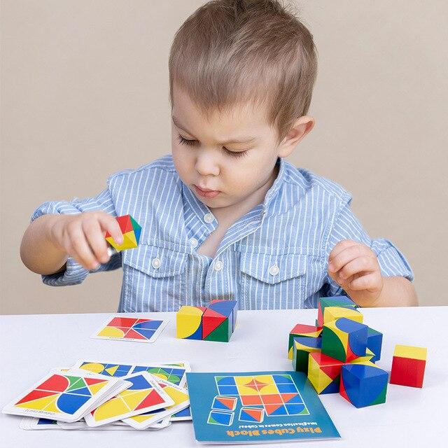 חדש לילדים מעץ צעצועים חינוכיים pixy קוביות בלוקים מרחב חשיבה אינטליגנציה לילדים תינוק 4
