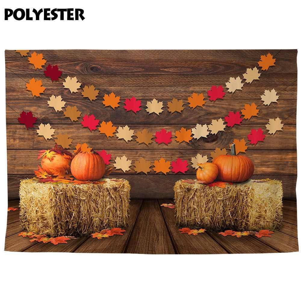 Fotografia allenjoy spadek tła jesień dynia stodoła liście klonu banner słoma drewno ściana podłoga dzieci tło photophone