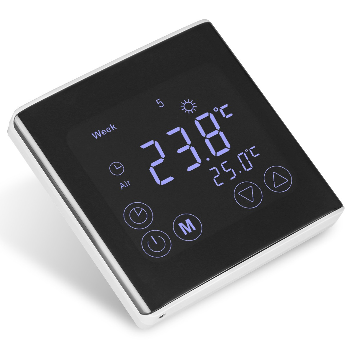 Thermostat Touch Control Temperature Sensor System LCD Display Device Heat Cool Electric Sense Operator Switch Automatic Signal