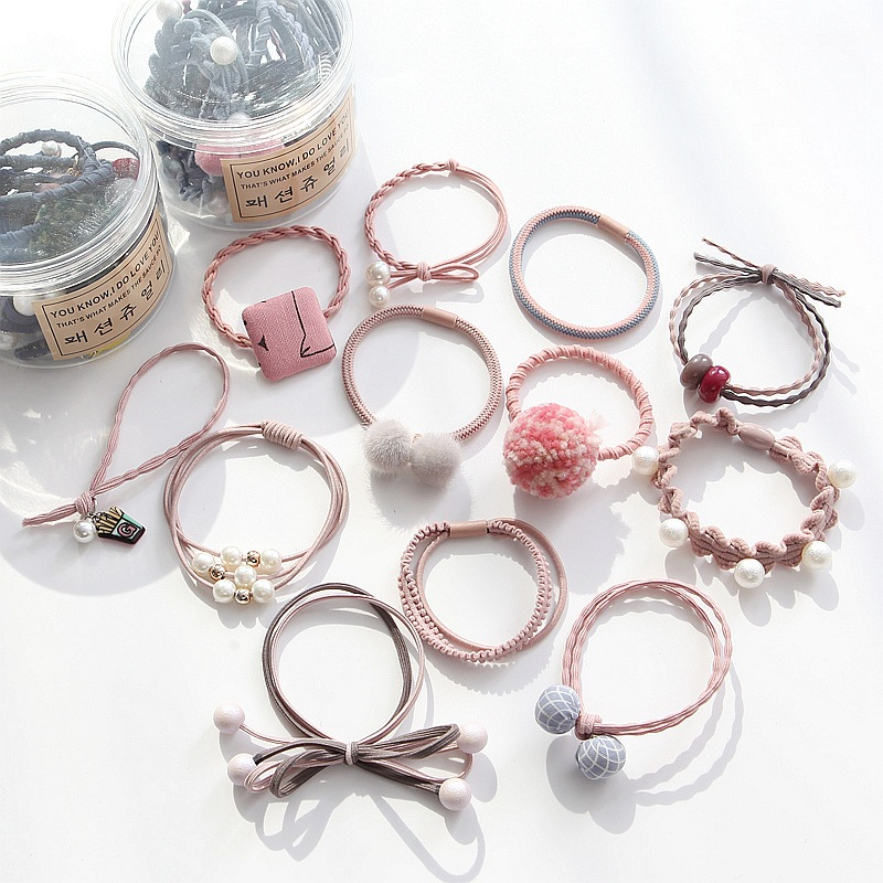 12pces new rubber band hair rope Suit KoreanElastic hair band hair ring hair accessories Female head rope Headwear Boxed suit(China)