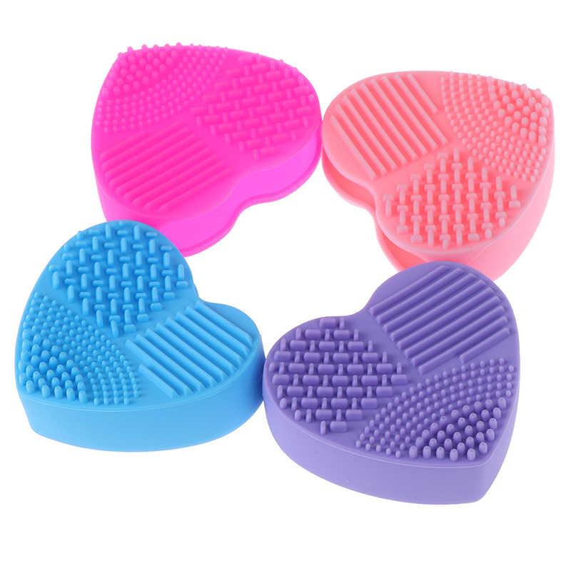 צבעוני לב צורת נקי איפור מברשות סיליקה כפפת Scrubber לוח קוסמטי ניקוי כלים איפור מברשות