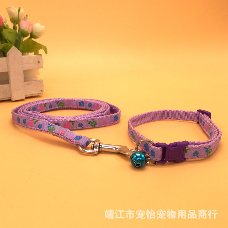 Pet Traction Rope Thick Flower Stickers With Bell Small Quan Xiang Quan With Dog Chain Dog Rope Mao Sheng 1.5 Wide