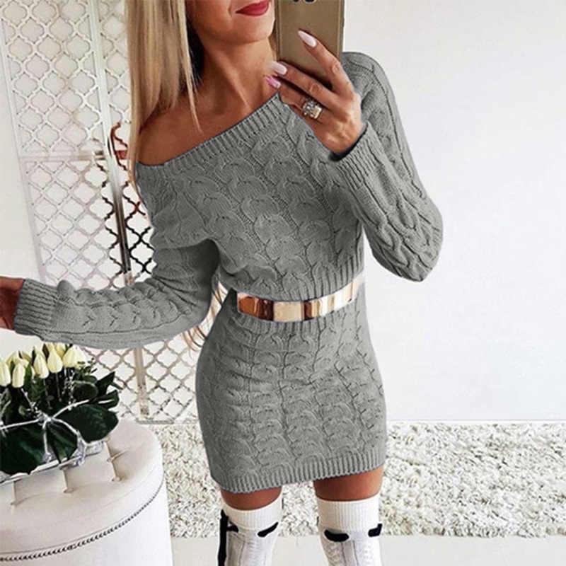 جديد 2020 خريف شتاء أنيق محبوك سترة فستان المرأة أسود أبيض سترة فستان مثير الصلبة السيدات الشتاء سترة فستان