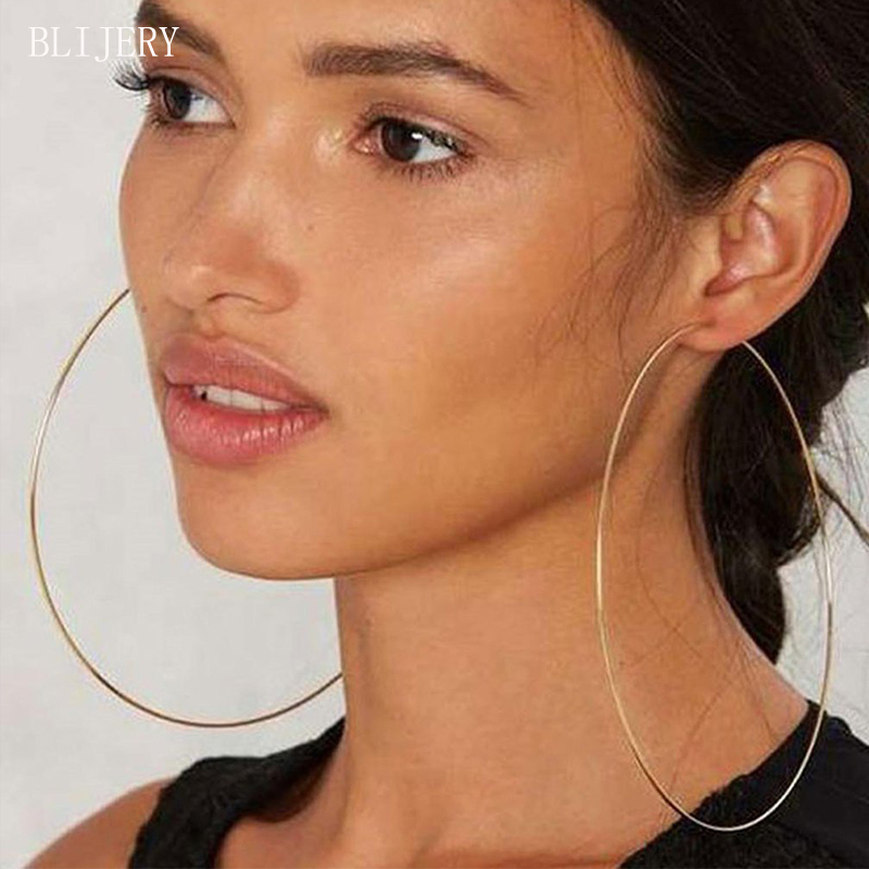 BLIJERY Exaggerated 12cm Super Big Hoop Earrings Smooth Large Circle Earrings For Women Statement Jewelry Boucles D'oreilles
