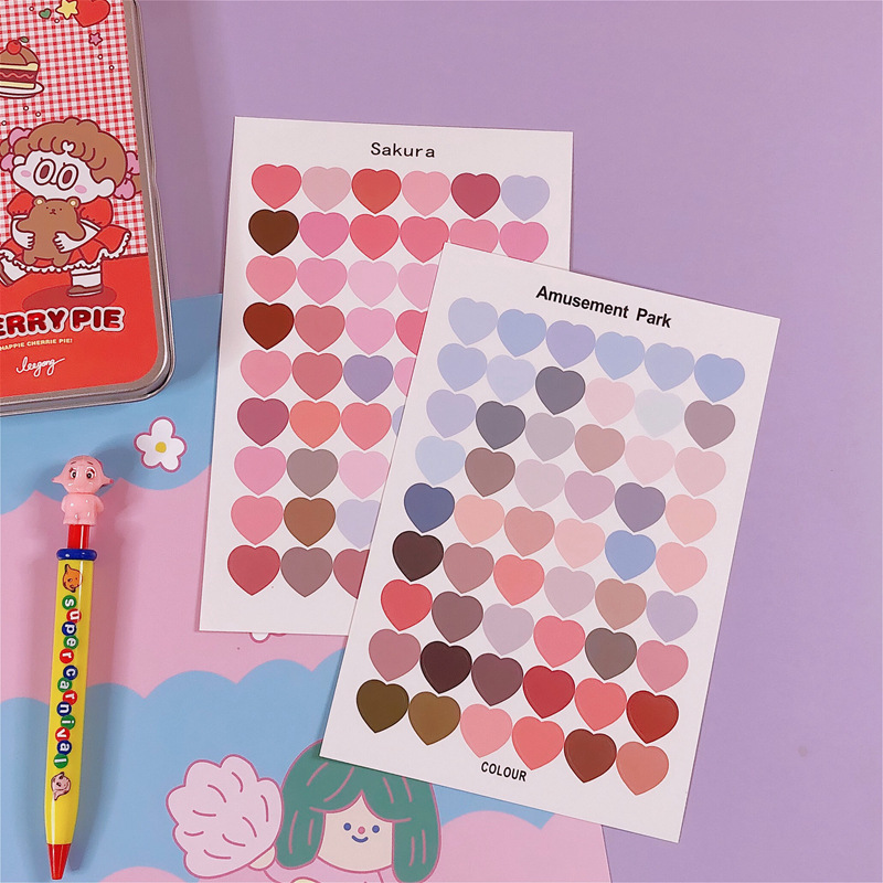 1 Sheet Cute Colorful Heart Sticker Kawaii Round Decorative Sticker DIY Journal Sticker Diary Scrapbooking Label Stationery