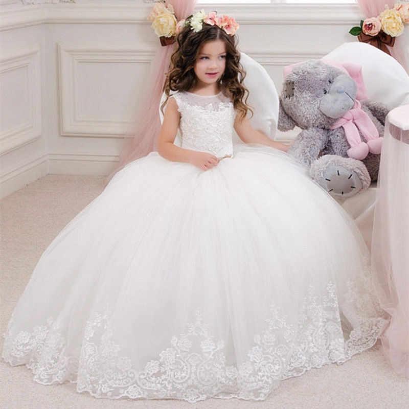 Desfile Niños Princesa Vestido Blanco Encaje Vestido De Bola Flor Niña Vestidos Para Boda Cumpleaños Fiesta Primera Comunión Vestido